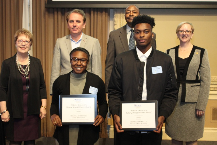 St. Louis Rotary Young Citizen Award. Scholarships provided by Webster University are awarded