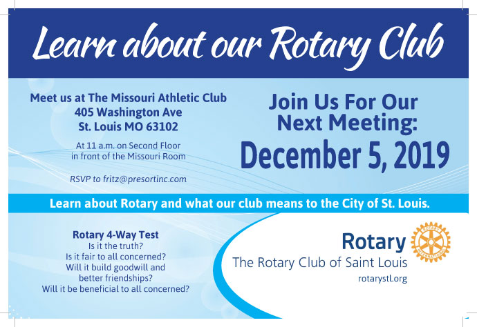 Learn About our Rotary Club meeting for prospective members at 11:00 am on 12-5-19
