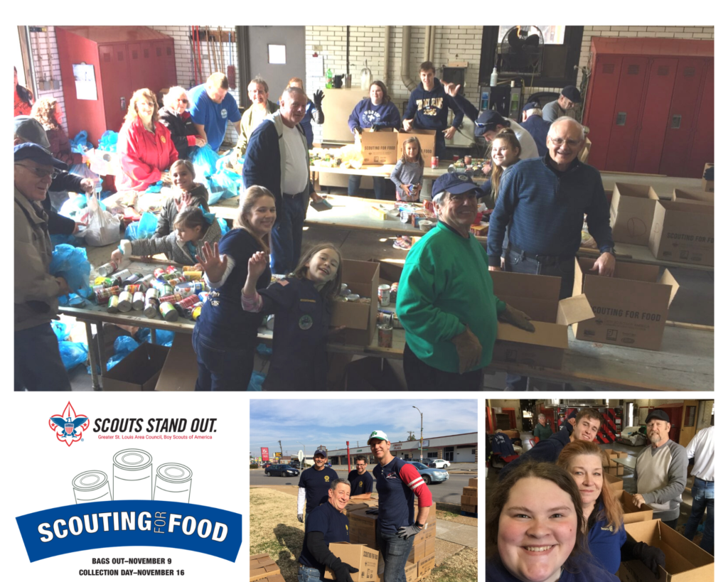 People of Action ~ St Louis Rotary Volunteers Sorting food from Scouting for Food Collection on 11-16-2019 22 Volunteers St Louis Rotary Club