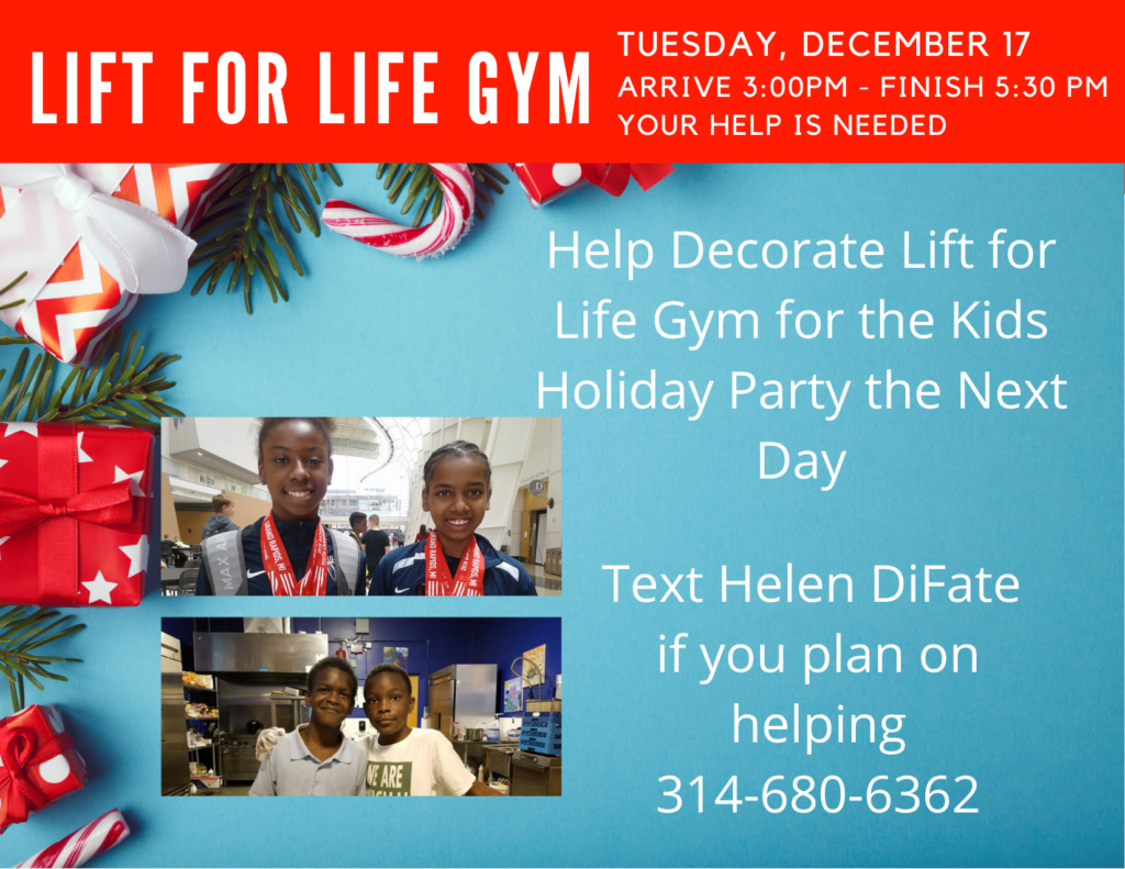 Lift for Life Gym Holiday Party Decorating December 17-2019