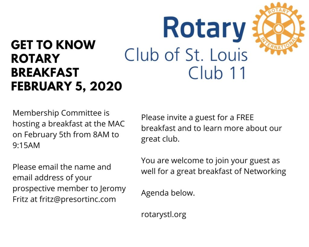 Get to Know Our Rotary Club Breakfast Feb 5, 2020