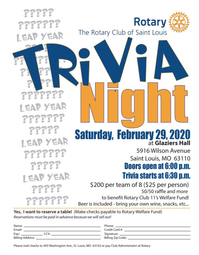 Trivia Night 2-29-20 $25 per person/ $200 per table