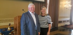 Emily Howard, VP PGAV Destinations with President Jack Windish on 7/15/21 at st louis rotary club