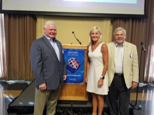Lisa Stone, Head Coach of Women's Billiken Basketball, with Ken Schuman and President Jack Windish at St. Louis Rotary on 9-2-21